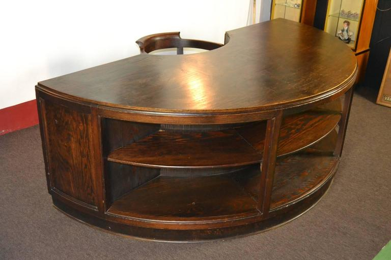 Antique Half Round Wooden Executive Desk For Sale At 1stdibs