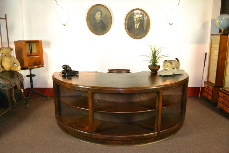 Antique Half Round Wooden Executive Desk For Sale 4