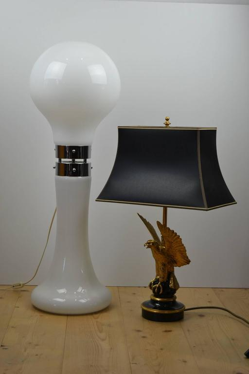 Beautiful Extra Large Mouth Blown White Mushroom Shaped Murano Milk Glass Big  Table Lamp Or Floor