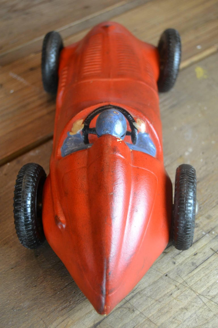20th Century 1930s Red Rubber Racer Toy Car For Sale