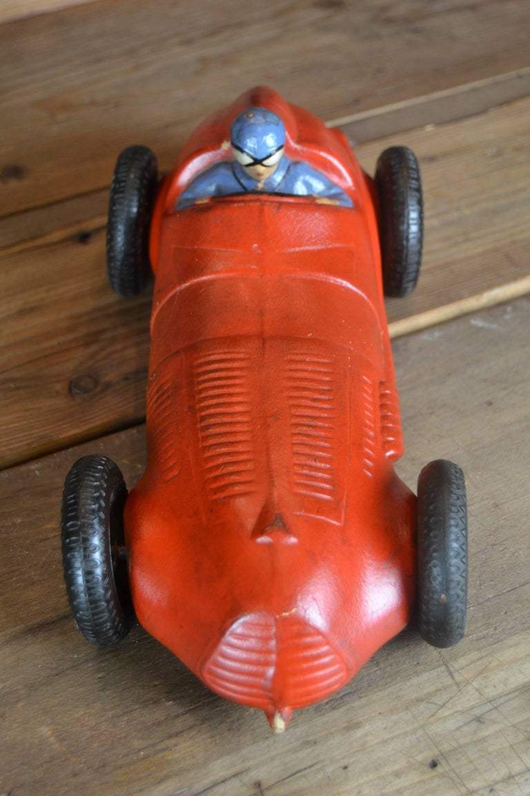1930s Red Rubber Racer Toy Car 9