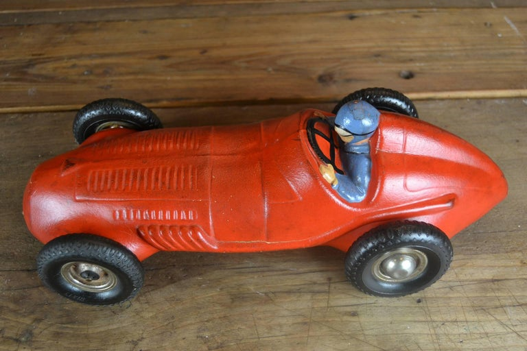 Metal 1930s Red Rubber Racer Toy Car For Sale