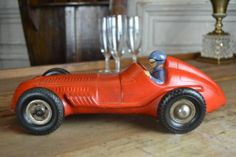 European 1930s Red Rubber Racer Toy Car For Sale