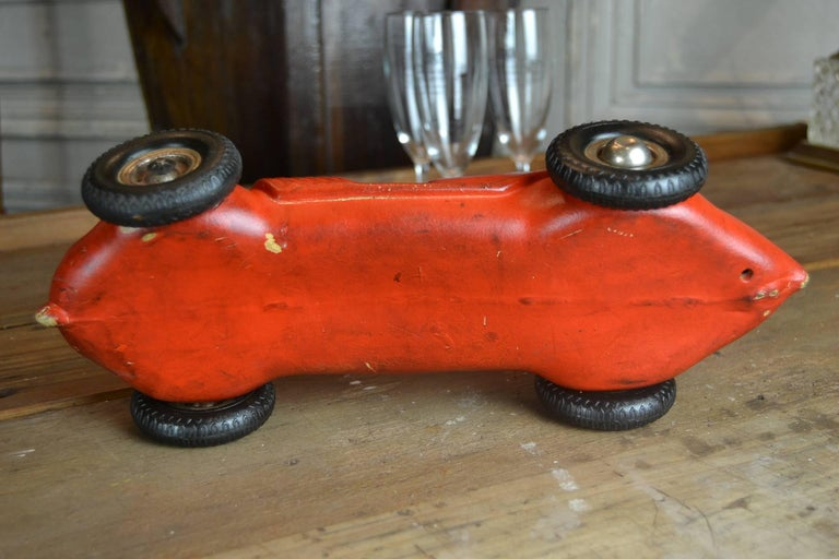 1930s Red Rubber Racer Toy Car For Sale 1