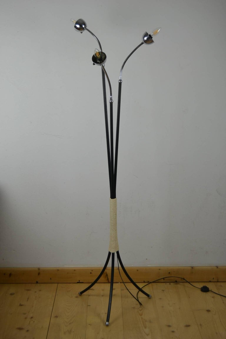 Mid-Century Three-Light Floor Lamp Flexible Arms 6