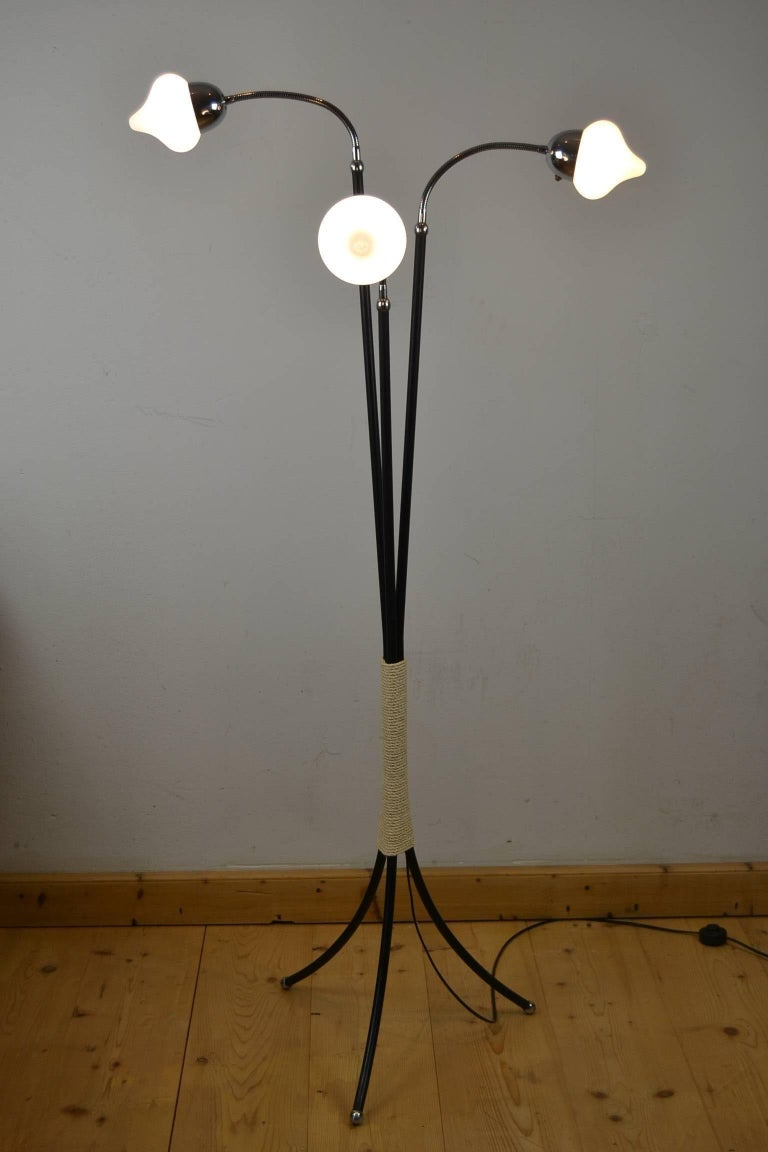 European Mid-Century Three-Light Floor Lamp Flexible Arms For Sale