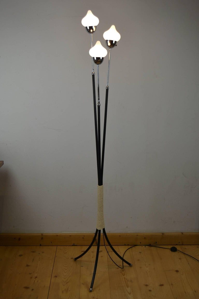 Mid-Century Modern Mid-Century Three-Light Floor Lamp Flexible Arms For Sale