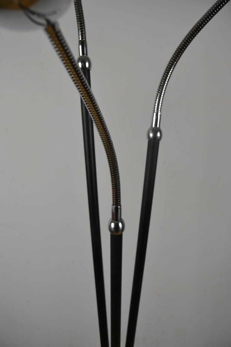 Mid-Century Three-Light Floor Lamp Flexible Arms 8