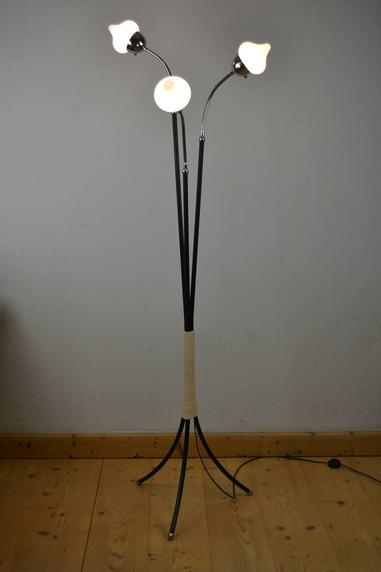 Mid-Century Three-Light Floor Lamp Flexible Arms For Sale 2