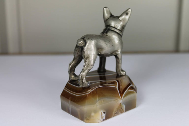 Paperweight, Metal French Bulldog on Onyx Mable Base, Japan In Excellent Condition For Sale In Antwerp, BE