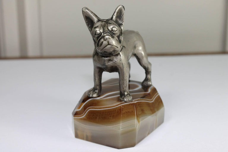 Paperweight, Metal French Bulldog on Onyx Mable Base, Japan For Sale 4