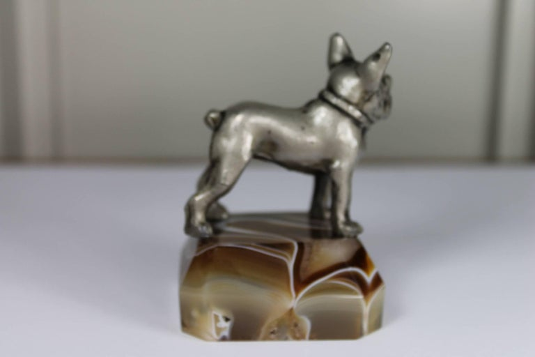 20th Century Paperweight, Metal French Bulldog on Onyx Mable Base, Japan For Sale