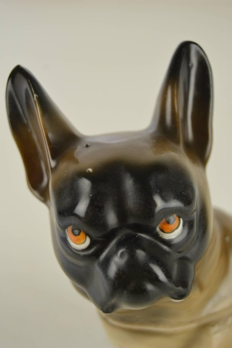 Antique French bulldog figurine - humidor Germany. Fawn colored bully dark mask - black-masked and grumpy tri-colored eyes. Dates 1930s - Art Deco Period. You can take the head off, so you can put precious things inside.  Here and there traces of