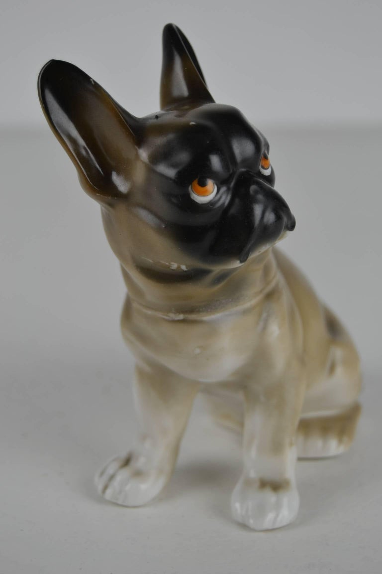 1930s Antique German Porcelain French Bulldog Humidor For Sale 5