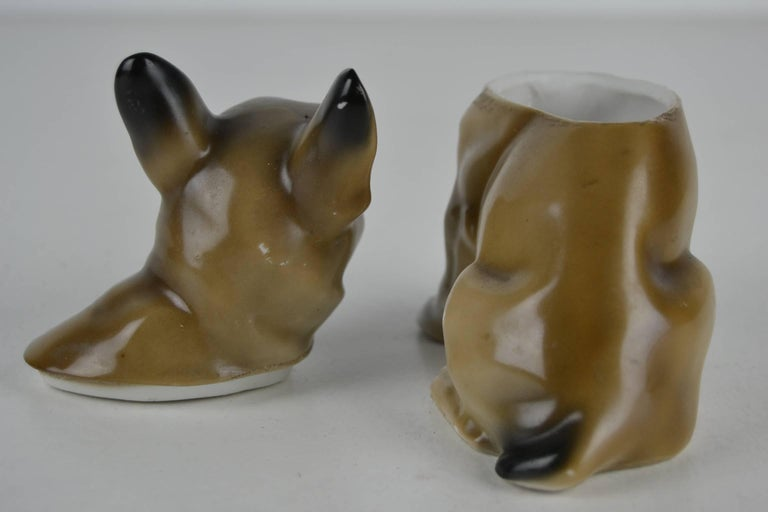 1930s Antique German Porcelain French Bulldog Humidor In Good Condition For Sale In Antwerp, BE