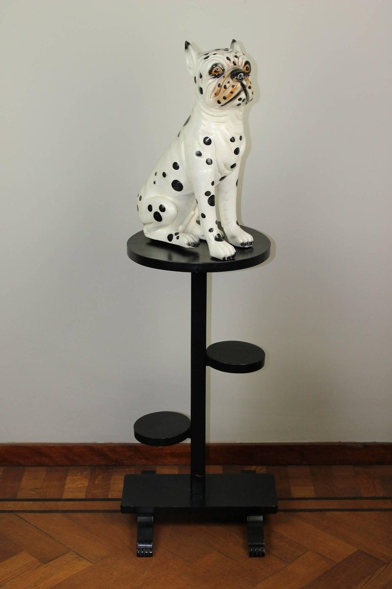 Hand-painted ceramic dog sculpture from the 1960s. This vintage ceramic Puppy Dog - Dane Dog Puppy  - little Dalmatian Dog - Dalmatian Bulldog  sculpture is so adorable. This Dog Figurine has a white Fur with black spots. It's a bulldog born in a