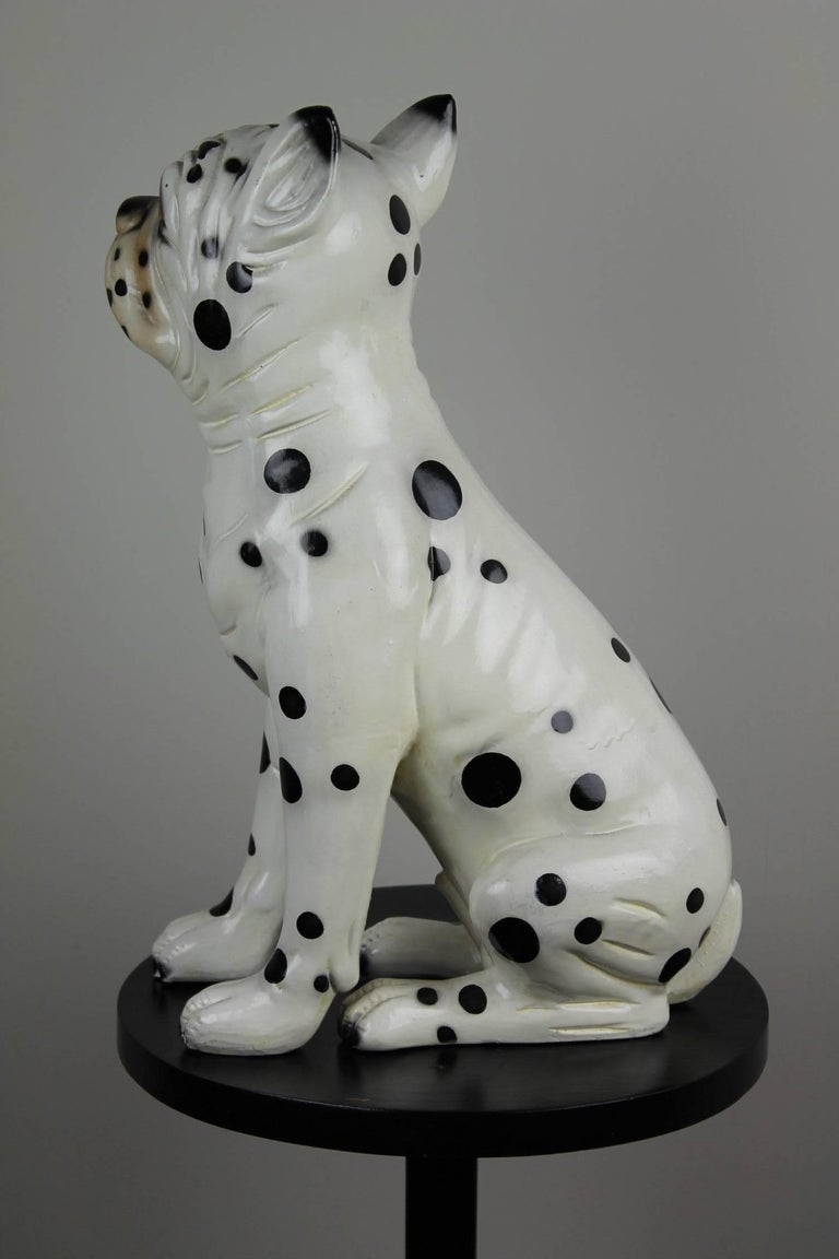 Hand-Painted Ceramic Dog Sculpture, Dalmatian Bulldog, 1960s For Sale 2