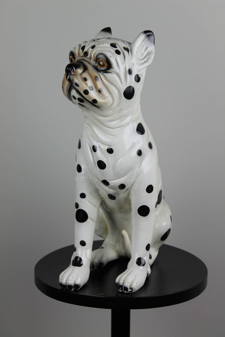 Hand-Painted Ceramic Dog Sculpture, Dalmatian Bulldog, 1960s For Sale 4