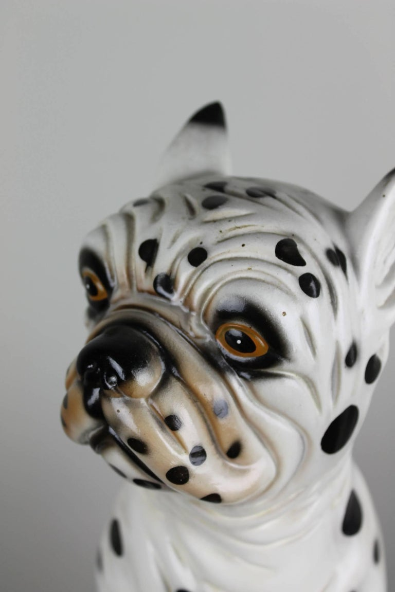 Mid-Century Modern Hand-Painted Ceramic Dog Sculpture, Dalmatian Bulldog, 1960s For Sale