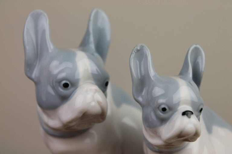 Pair Of German Blue And White Porcelain French Bulldog Figurines For
