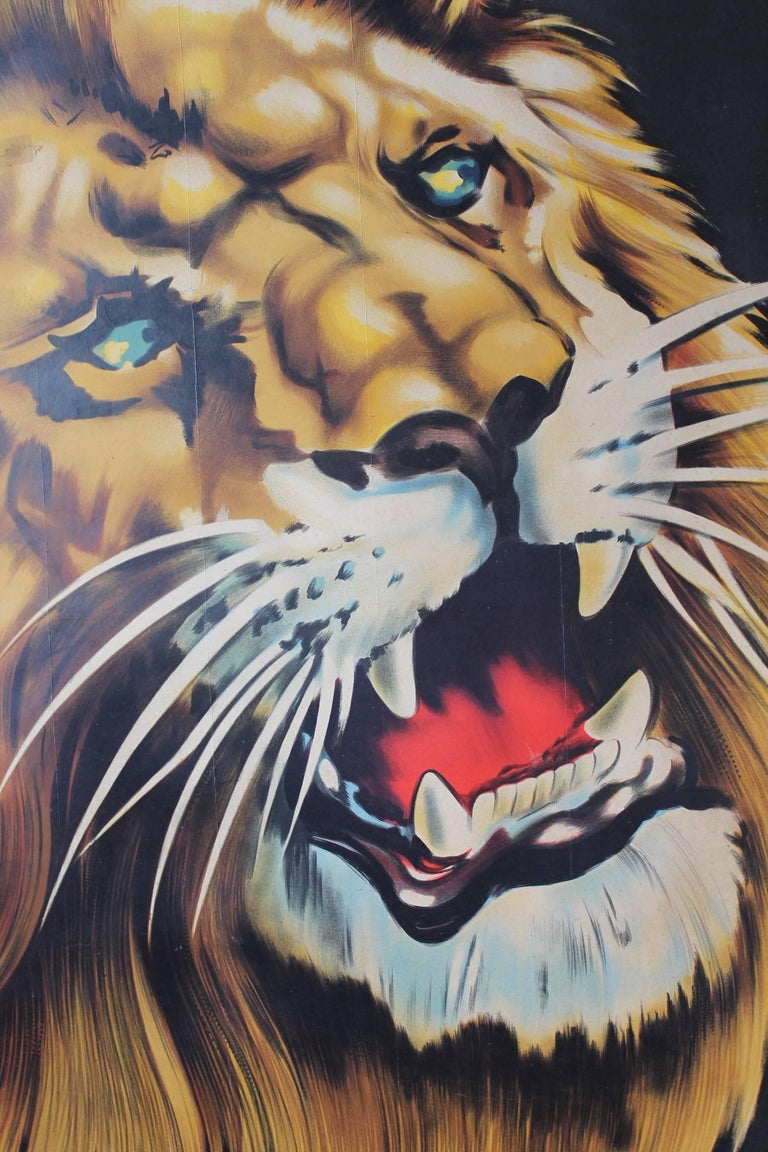 Large Lion Poster for Circus Triumph, Linen Backed, 1960s In Good Condition For Sale In Antwerp, BE