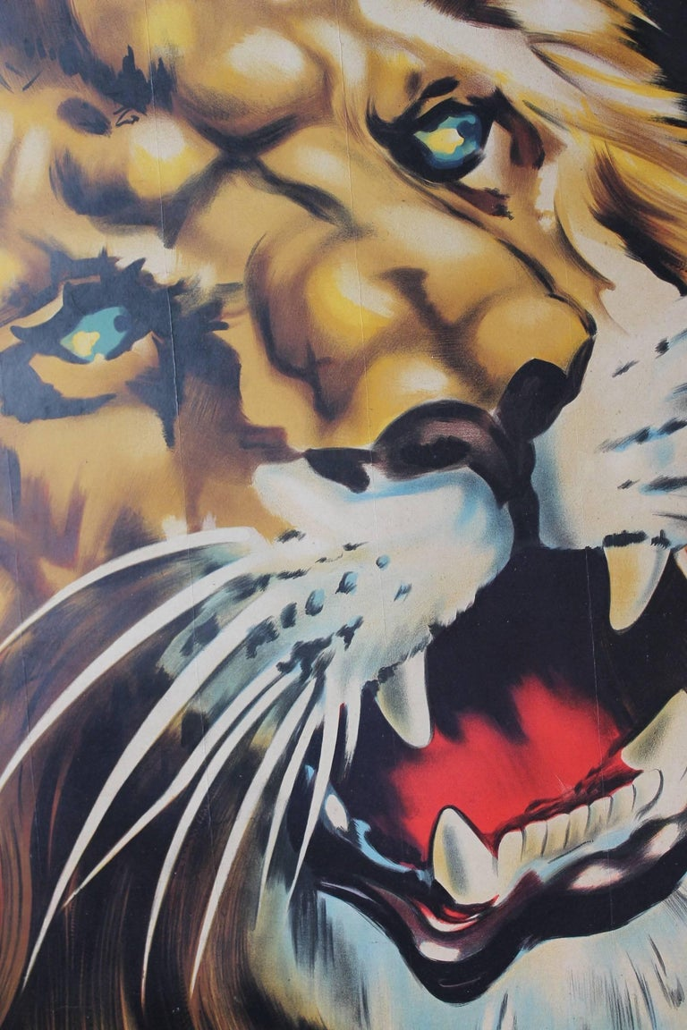 Large Lion Poster for Circus Triumph, Linen Backed, 1960s For Sale 1