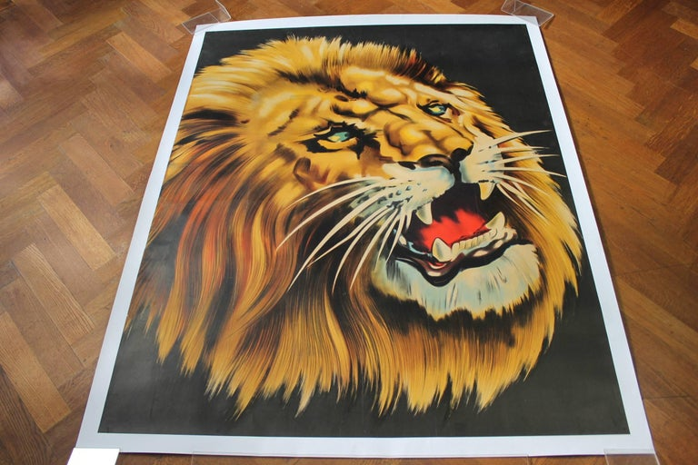 Mid-Century Modern Large Lion Poster for Circus Triumph, Linen Backed, 1960s For Sale
