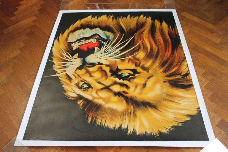 Large Lion Poster for Circus Triumph, Linen Backed, 1960s For Sale 3