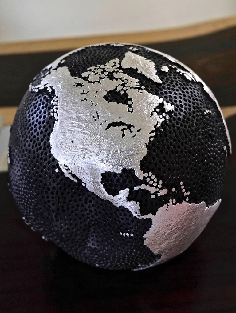 Organic Modern Wooden Globe Graphite and Silver For Sale