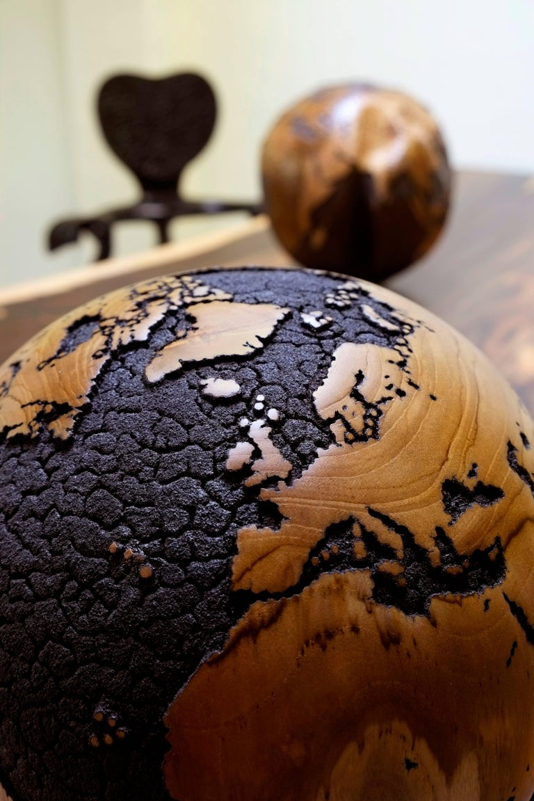 Oceans Cracked Wooden Globe 2