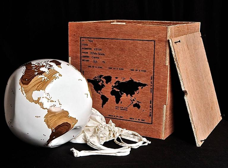 Wooden Globe White Hand-Carved from Teak Root Rotative Base 2