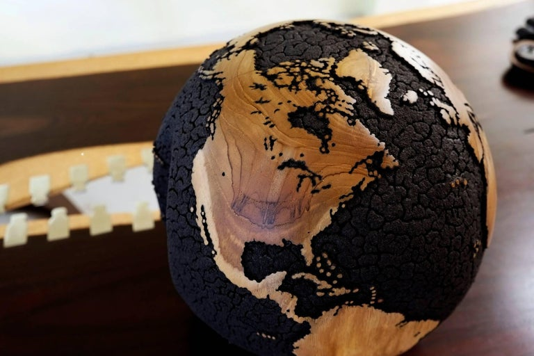 Oceans Cracked Wooden Globe 5