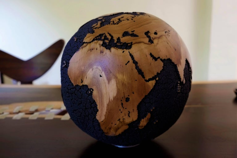 Oceans Cracked Wooden Globe 3