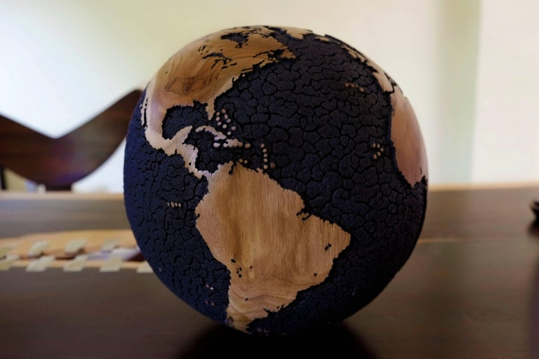 Oceans Cracked Wooden Globe 4
