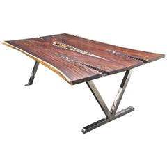 AVe Perfecto Table Made of Rosewood and Mirror Polished Stainless Steel