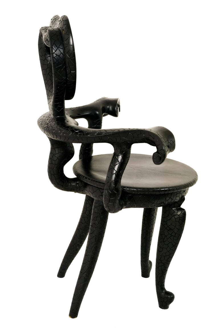 Casa Calvet Gaudi Armchair Made of Burnt Lychee Wood with Texture Finishing 6