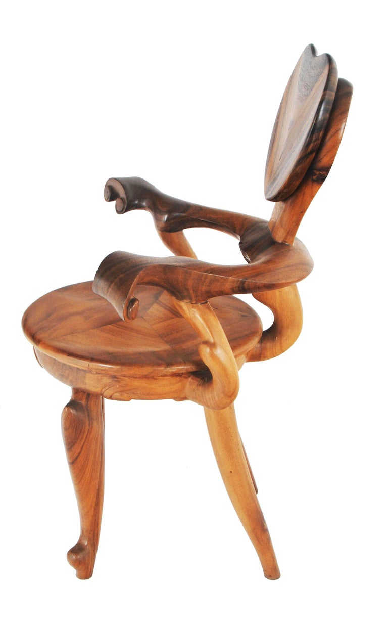 Gorgeous set of two armchairs for Casa Calvet designed by Antoni Gaudi, this piece is a reproduction made of suar wood.  Dimension:  Chair 1: 100 (H) X 75 (W) X 58 (D) cm, seat height 50 cm Chair 2: 100 (H) X 75 (W) X 58 (D) cm, seat height 50