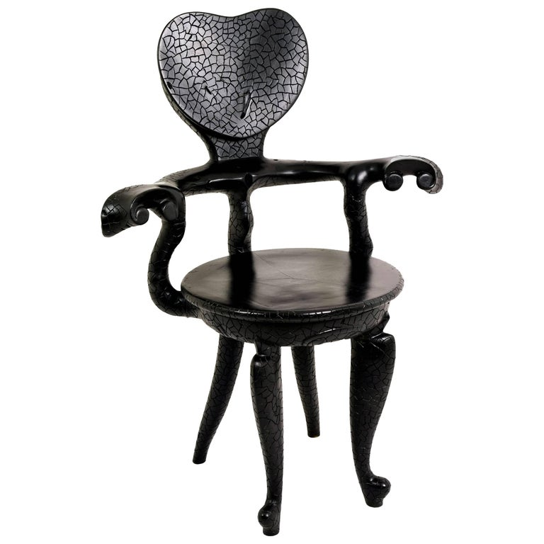 Casa Calvet Gaudi Armchair from Burnt Lychee Wood with Texture, Saturday Sale