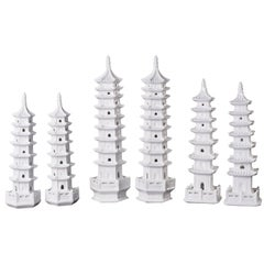 Blanc De Chine Pagodas, Chinoiserie White Porcelain Object of Art, Set of Six