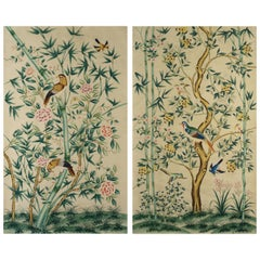 Pair of Chinoiserie Hand-Painted Wall Paper Panels, Watercolor on Rice Paper