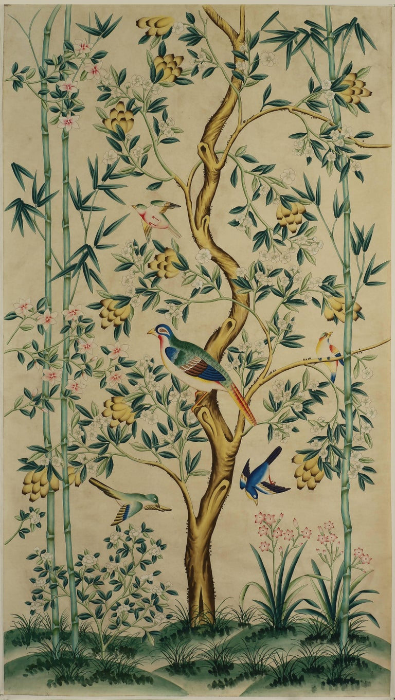 Chinese Pair of Chinoiserie Hand-Painted Wall Paper Panels, Watercolor on Rice Paper