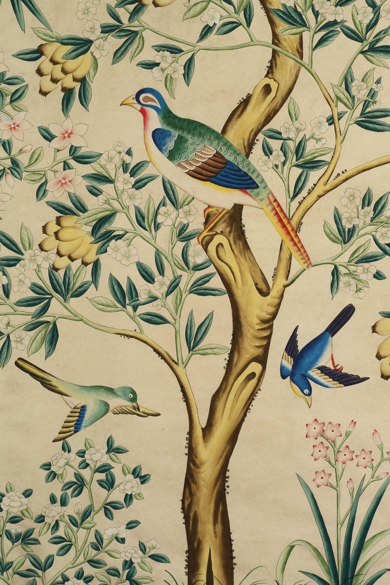 Pair of Chinoiserie Hand-Painted Wall Paper Panels, Watercolor on Rice Paper In Excellent Condition In 10 Chater Road, HK