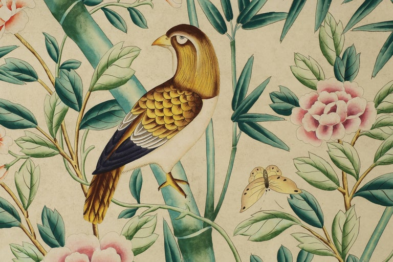 Contemporary Pair of Chinoiserie Hand-Painted Wall Paper Panels, Watercolor on Rice Paper