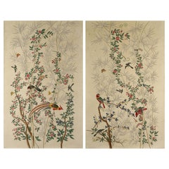Pair of Chinoiserie Hand-Painted Paper Panels, Watercolor on Paper