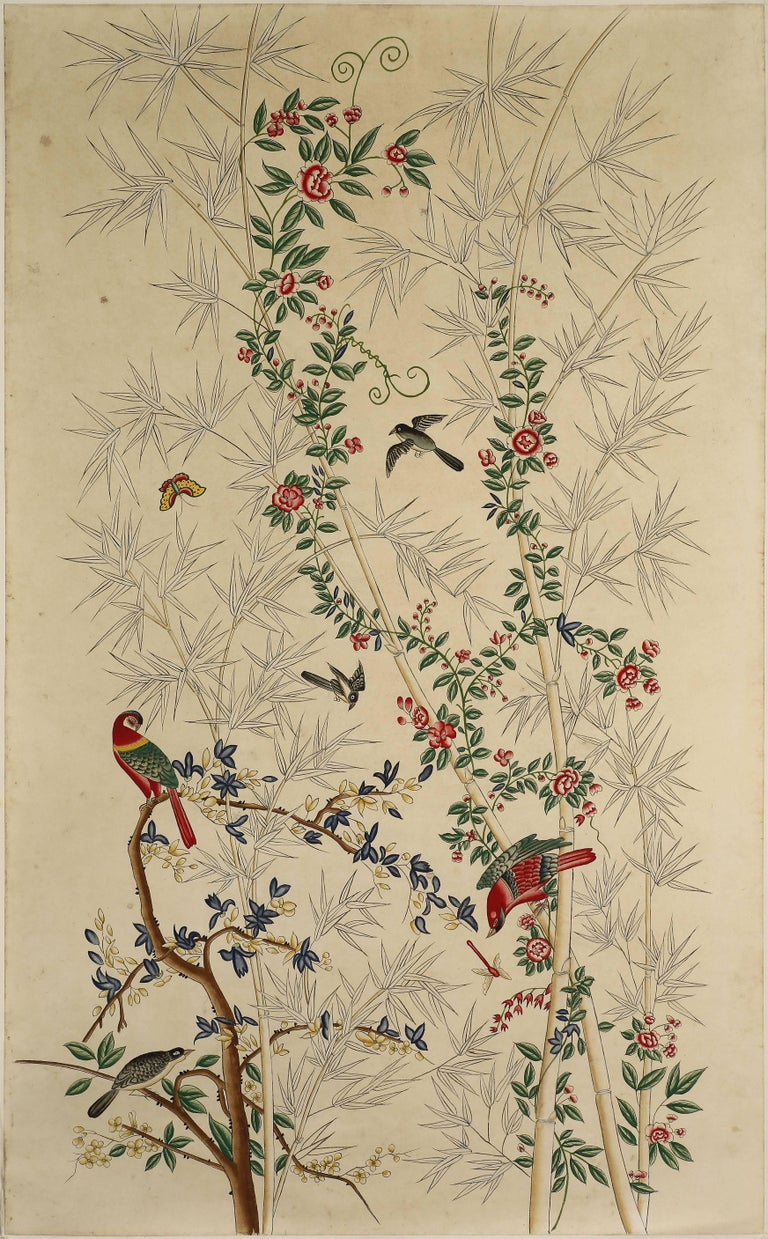 Chinese Export Pair of Chinoiserie Hand-Painted Paper Panels, Watercolor on Paper