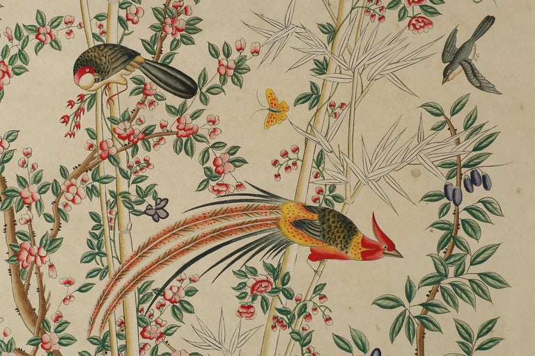 Chinese Pair of Chinoiserie Hand-Painted Paper Panels, Watercolor on Paper