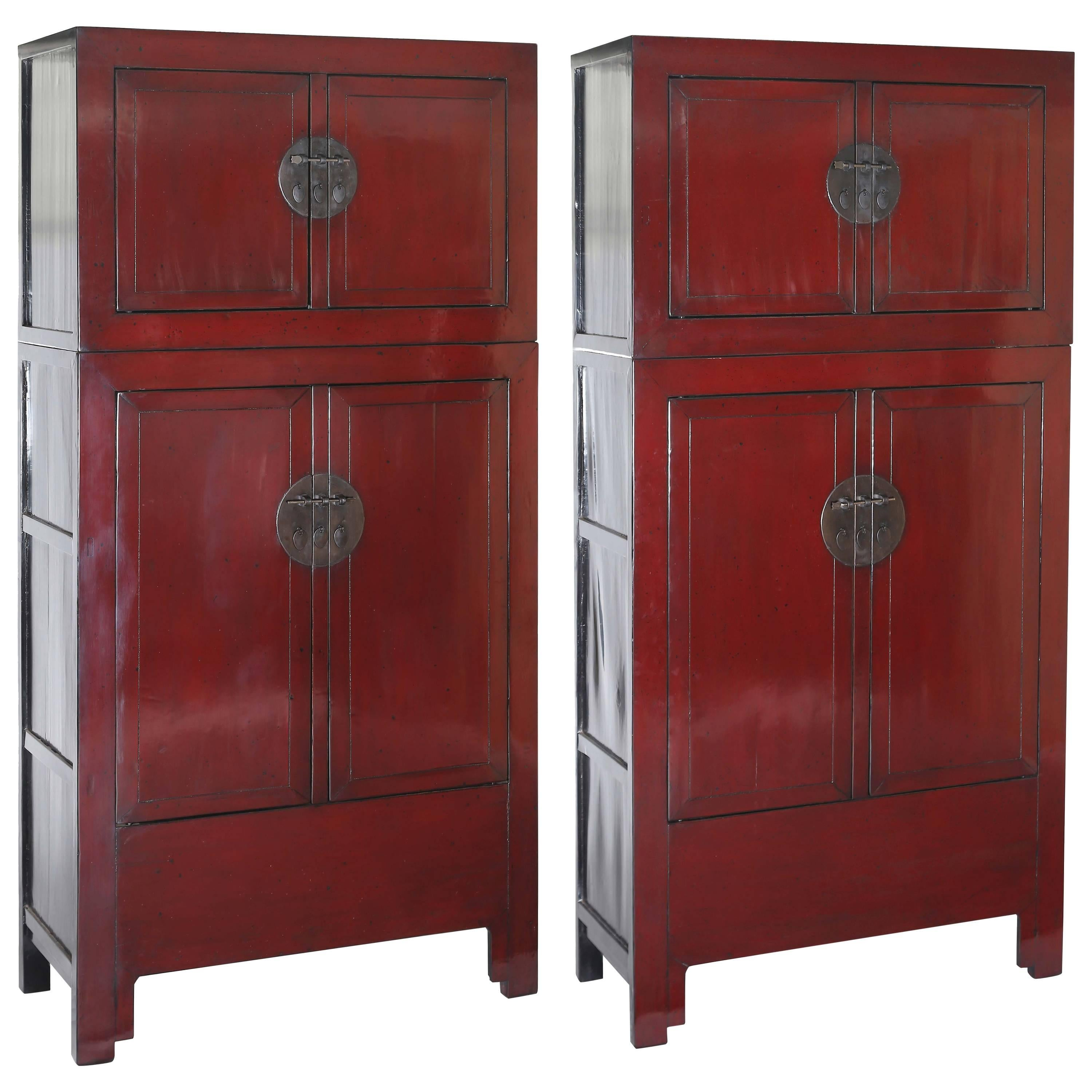 Antique Pair of Chinese Red Lacquer Compound Storage Cabinets, Stacked