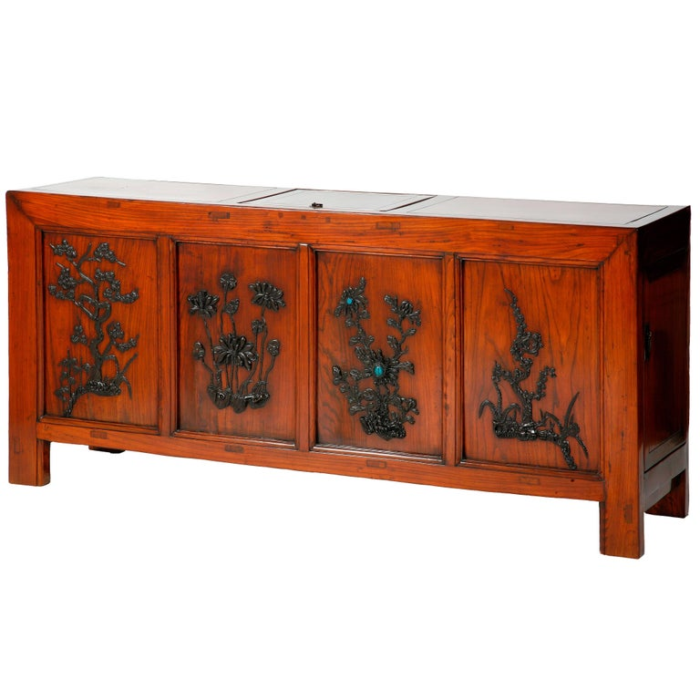 """Rare Antique Chinese """"Four Seasons"""" Storage Coffer, Inlaid Carvings, Chinoiserie For Sale"""