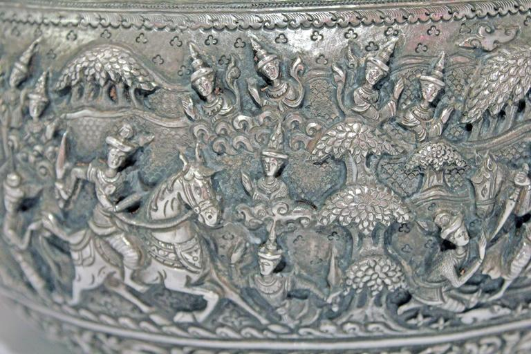 20th Century Solid Silver Hand-Worked Burmese Ceremonial Bowl, Jataka Scenes in Relief, Shan  For Sale