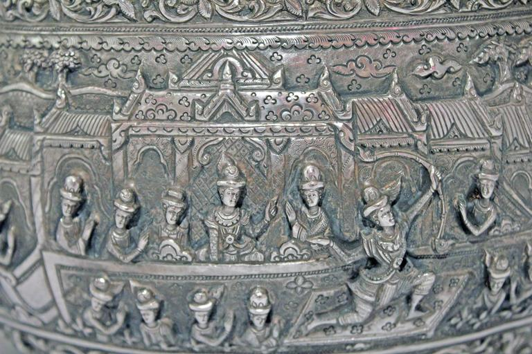 Solid Silver Hand-Worked Burmese Ceremonial Bowl, Jataka Scenes in Relief, Shan  For Sale 1